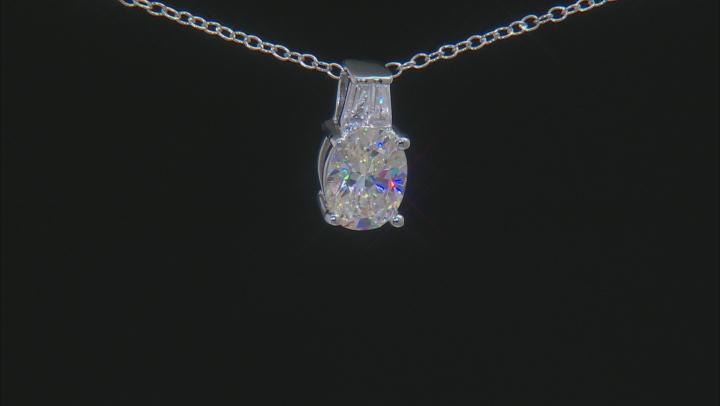 White Fabulite Strontium Titanate And White Zircon Sterling Silver Pendant With Chain 2.63ctw