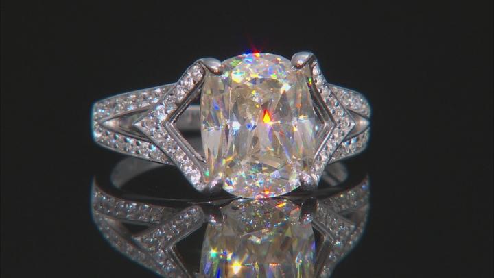 White Fabulite Strontium Titanate And White Zircon Rhodium Over Silver Ring 4.04ctw
