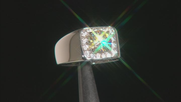 Fabulite Strontium Titanate And White Zircon Rhodium silver gents ring 2.31ctw