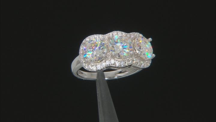 White Fabulite Strontium Titanate And White Zircon sterling silver ring 5.39ctw