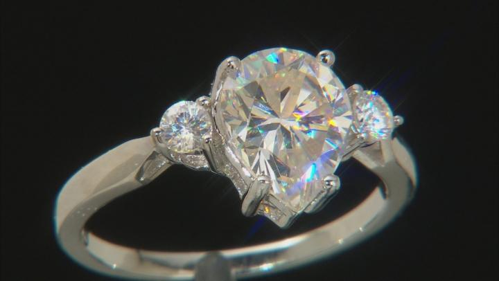 White Fabulite Strontium Titanate sterling silver ring 3.36ctw