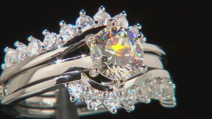 White Fabulite Strontium Titanate And White Zircon  silver ring with guard 3.02ctw