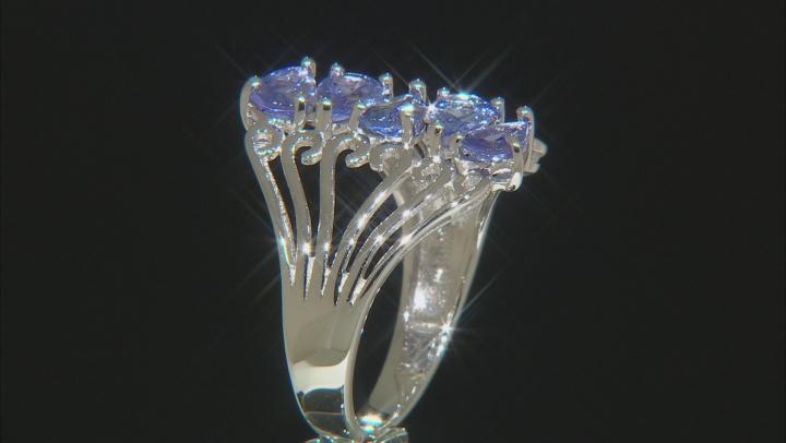 Blue tanzanite rhodium over sterling silver 5-stone ring 1.70ctw