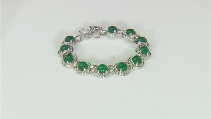 Green onyx sterling silver bracelet