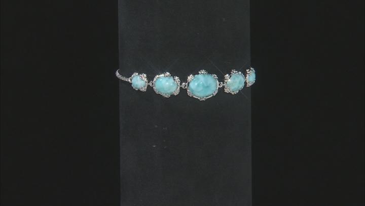 Blue larimar sterling silver bolo bracelet