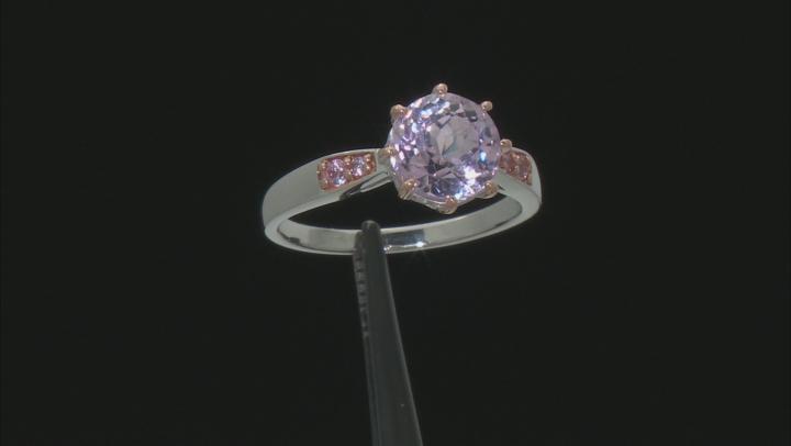Pink kunzite sterling silver ring 2.43ctw