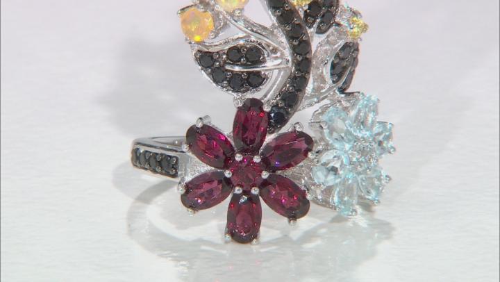 Multi-Gem Sterling Silver Floral Ring 4.85ctw