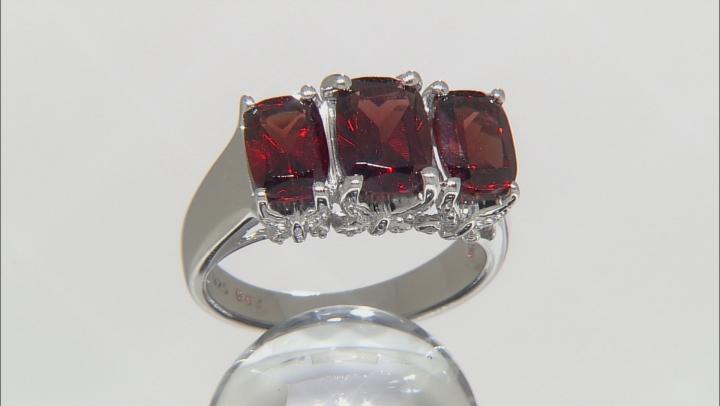 Red Garnet Sterling Silver 3-Stone Ring 3.35ctw