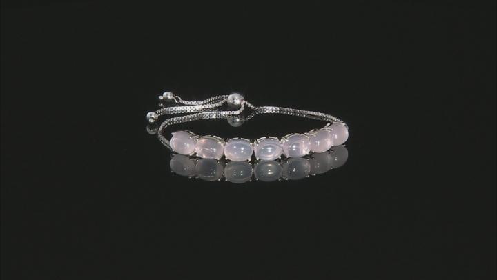 Pink Brazilian Rose Quartz Sterling Silver Sliding Adjustable Bracelet