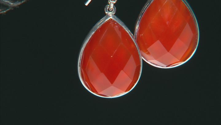 Orange Carnelian Sterling Silver Teardrop Earrings