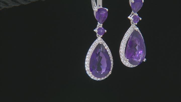 Purple Amethyst Sterling Silver Dangle Earrings 9.70ctw