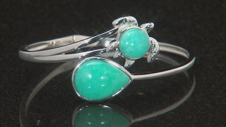 Green Amazonite Sterling Silver Turtle Bypass Bangle Bracelet