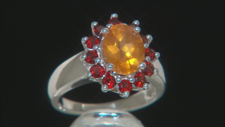 Golden Hessonite Sterling Silver Ring 3.05ctw