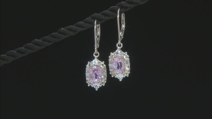 Pink Kunzite Rhodium Over Sterling Silver Earrings 2.75ctw