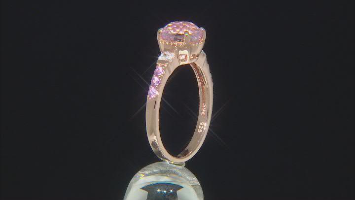 Pink Kunzite 18k Rose Gold Over Silver Ring 2.82ctw