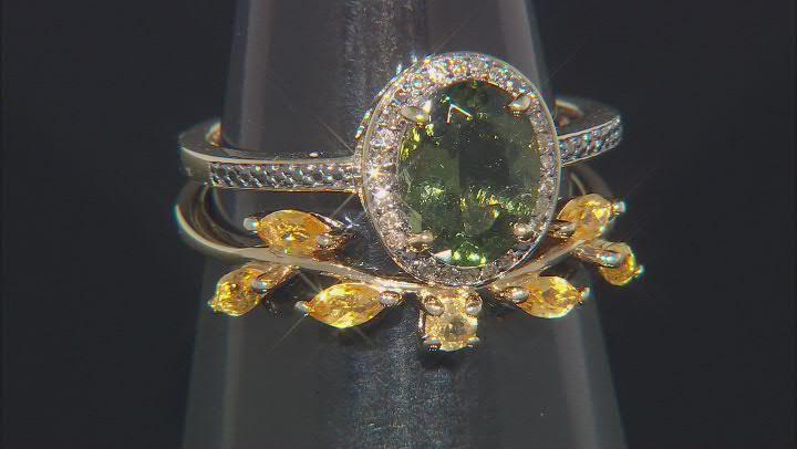 Green Moldavite 18k Yellow Gold Over Silver Set of 2 Rings 1.62ctw