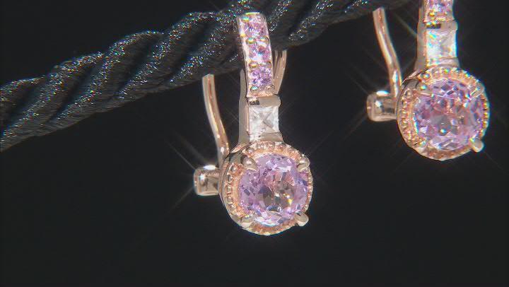 Pink Kunzite 18k Rose Gold Over Silver Earrings 2.24ctw