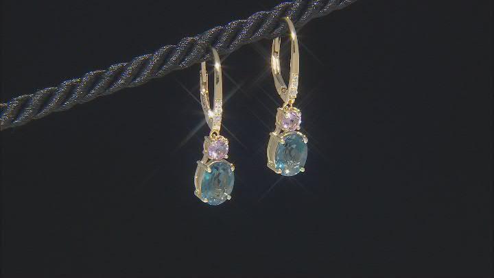 London Blue Topaz 18K Yellow Gold over Silver Earrings 4.43tw