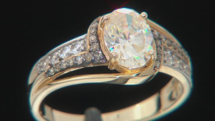 Fabulite Strontium Titanate And Champagne diamond With White Zircon 10k Yellow Gold Ring 1.77ctw