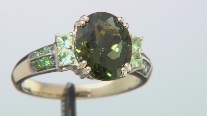 Green Moldavite 10k Yellow Gold Ring 2.70ctw