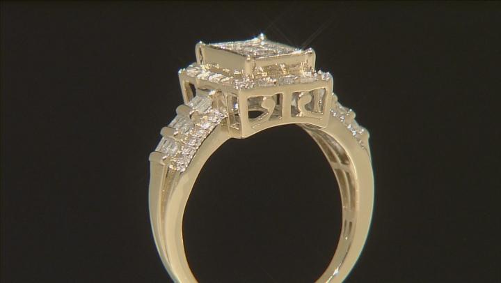 White Diamond Ring 10k Yellow Gold .90ctw