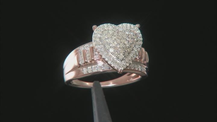 White Diamond 14k Rose Gold Over Sterling Silver Ring .90ctw