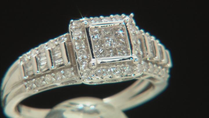 White Diamond 10k White Gold Ring .70ctw