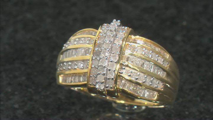 Engild™ White Diamond 14k Yellow Gold Over Sterling Silver Ring 1.00ctw
