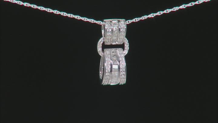 White Diamond Rhodium Over S/S Pendant With Chain 0.40ctw