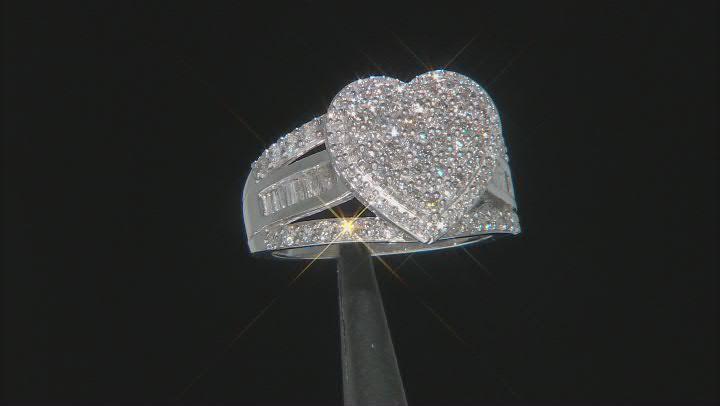 White Diamond 10k White Gold Cluster Heart Ring 1.30ctw