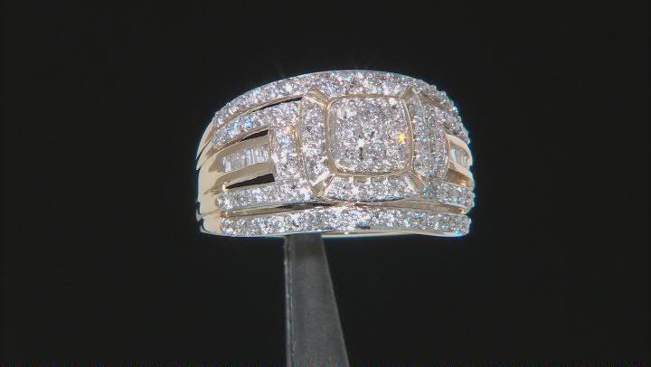 White Diamond 10k Yellow Gold Cluster Ring 1.00ctw