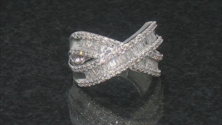 White Diamond 10k White Gold Crossover Ring 1.35ctw