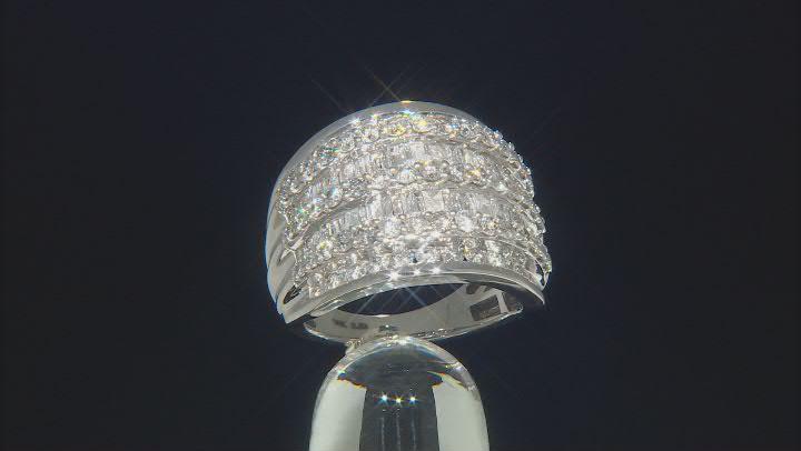 White Diamond 10k White Gold Multi-Row Dome Ring 2.85ctw