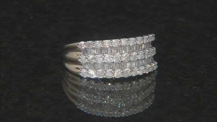 White Diamond 10k Yellow Gold Wide Band Ring 1.25ctw