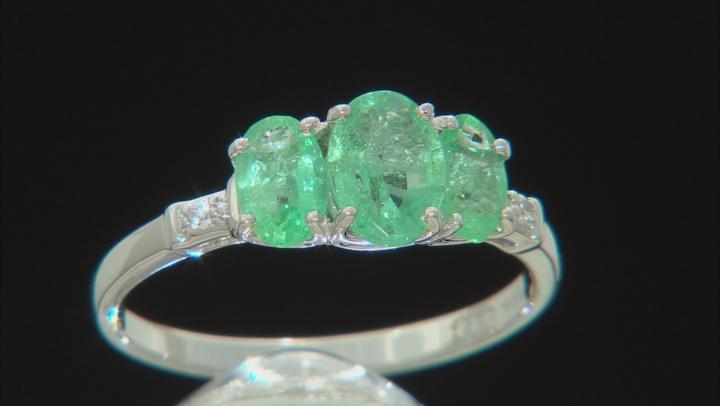 Green Ethiopian Emerald Rhodium Over 10k White Gold Ring 1.40ctw
