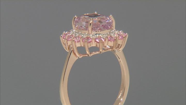 Pink Kunzite 10k Rose Gold Ring 3.82ctw.