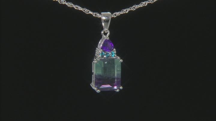 Bi-Color Fluorite Rhodium Over Sterling Silver Pendant with Chain 6.86ctw
