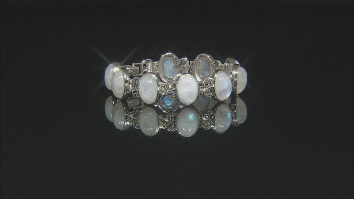 White Rainbow Moonstone Sterling Silver Bracelet