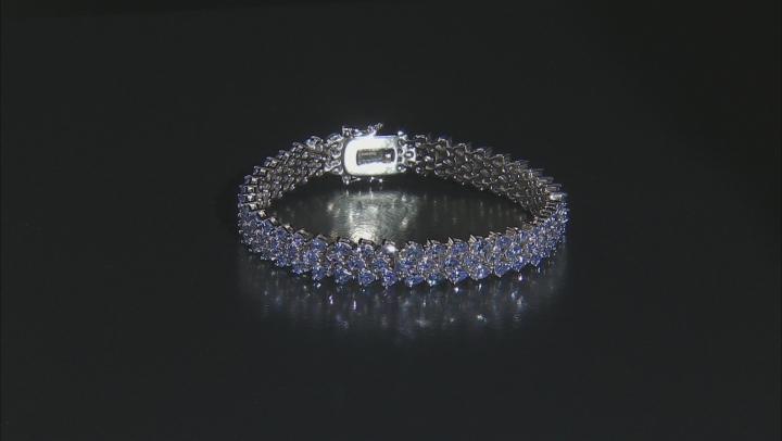 Blue Tanzanite Rhodium Over Silver Bracelet 12.42ctw