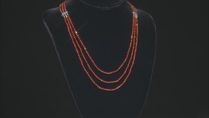 Orange hessonite garnet bead sterling silver necklace 108.36ctw