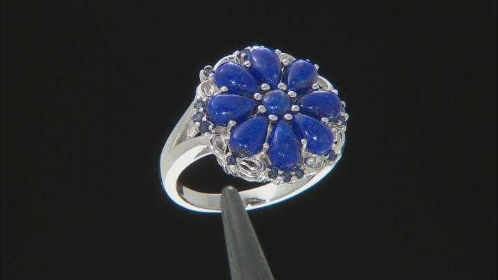 Blue Lapis Lauzli Rhodium Over Silver Ring .25ctw