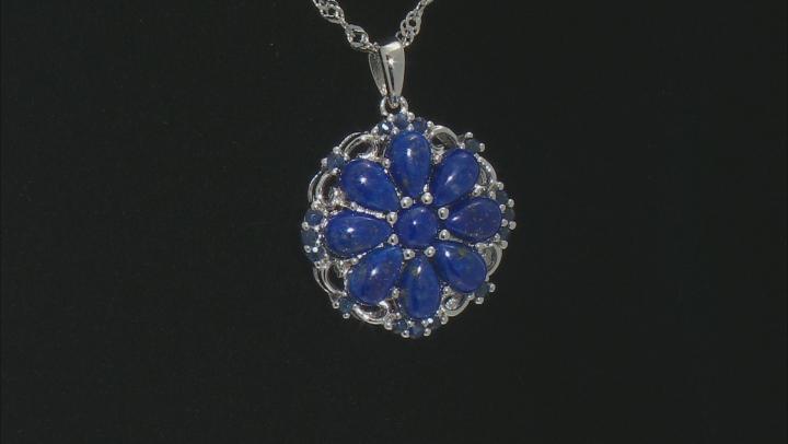 Blue Lapis Lazuli Rhodium Over Silver Pendant With Chain .25ctw