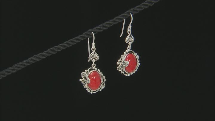 Red Sponge Coral Sterling Silver Earrings