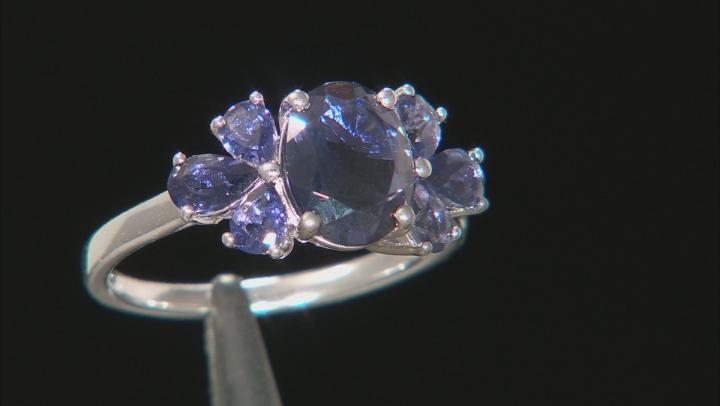Purple Iolite Rhodium Over Silver Ring 1.77ctw