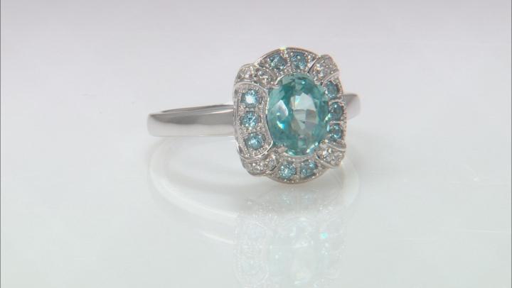 Blue zircon rhodium over sterling silver ring 2.02ctw