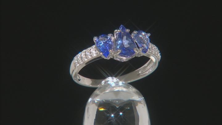 Blue Tanzanite Rhodium Over Silver Ring 1.62ctw
