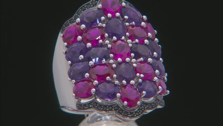 Purple Amethyst Rhodium Over Silver Ring 7.32ctw