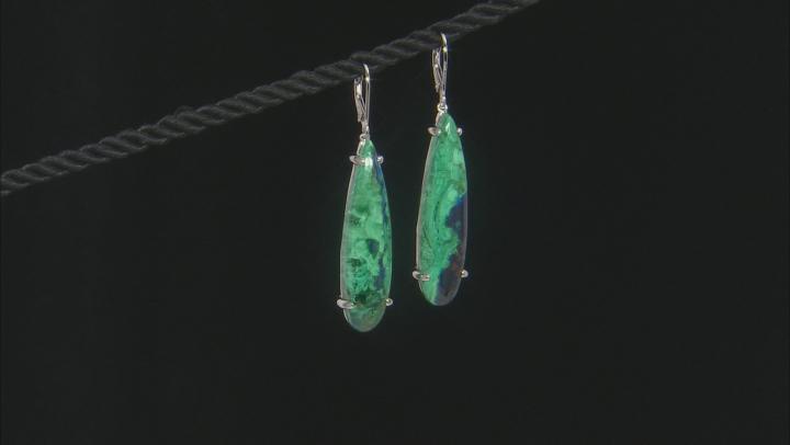 Blue Azurmalachite Rhodium Over Silver Earrings