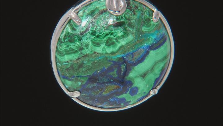 Blue Azurmalachite Rhodium Over Silver Enhancer With Chain