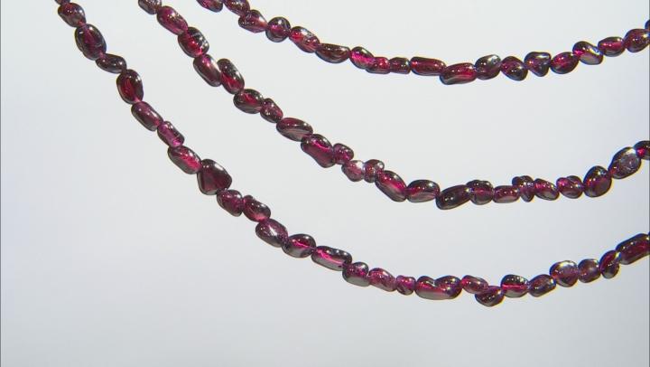 Purple Rhodolite nuggets Sterling Silver 3-Row Necklace